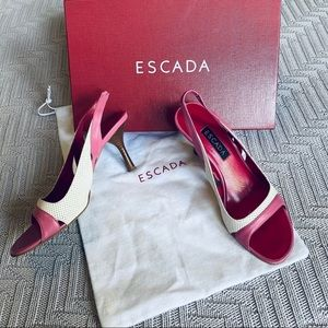 Escada pink leather slingback sandals, size 5.5